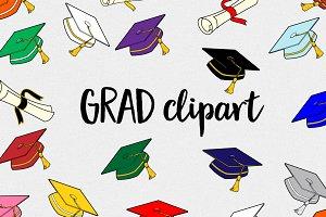 Graduation clipart - caps/diplomas