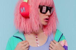 pop art style. Creative DJ