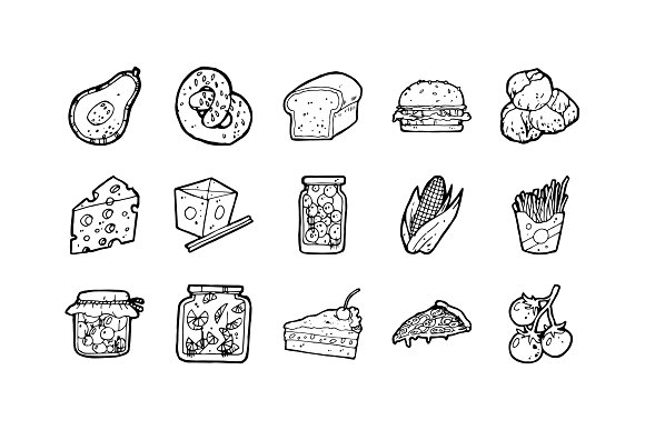 52 Food Hand-drawn Icons