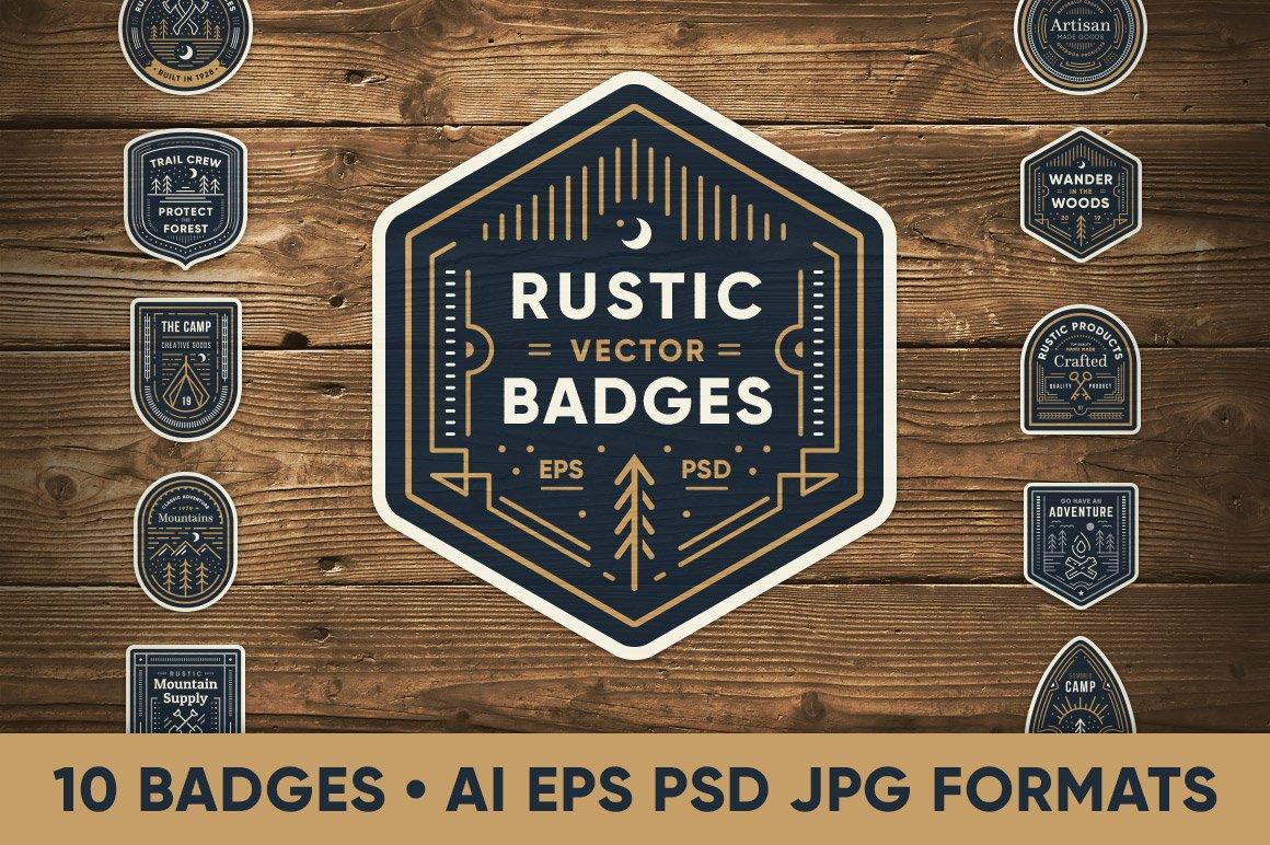 Rustic Line Art Badges ~ Logo Templates ~ Creative Market