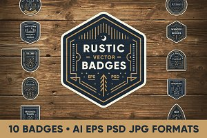 Rustic Line Art Badges