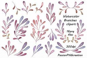Watercolor floral clipart