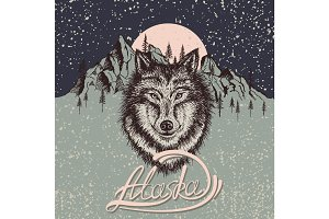 Vintage poster with wolf on the Alaska