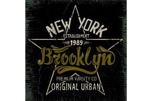 Vintage label with Brooklyn City design