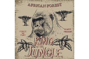 Vintage label with gorilla