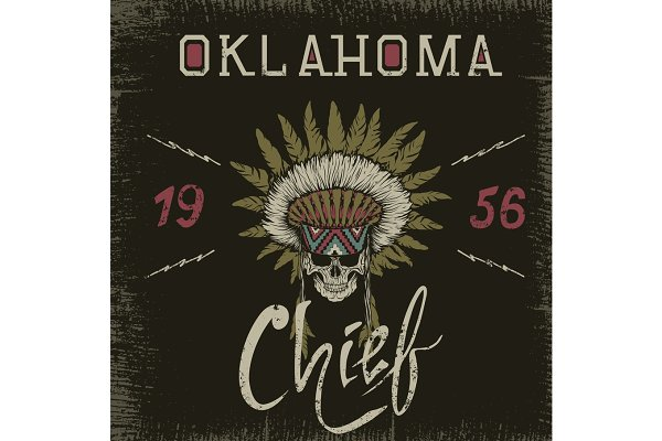 Vintage label with skull-chief