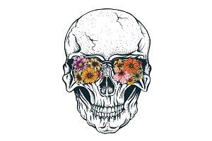 Skull of human with flowers on eyeglasses