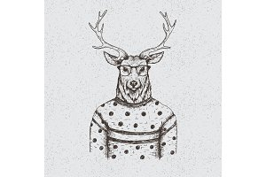 Hipster deer dressed in the blouse