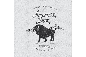 Vintage trademark with american bison