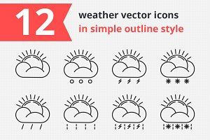12 weather vector icons vol.1