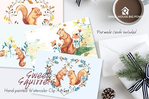 Sweet Squirrels -Huge Watercolor Set