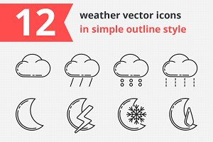 12 weather vector icons vol.2