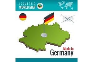 Isometric vector map of Germany or Deutschland. Federal Republic of Germany and flag.