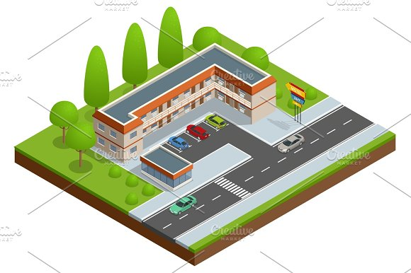 Motel Or Hotel Building Near The Road With Cars Parking Lot And Neon Sign Vector Isometric Icon Or Infographic Element
