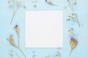 Blank greeting card and dry flowers