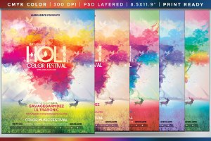 Holi Color Festival Poster Template
