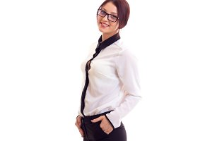 Young businesswoman with glasses