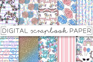 Pastel Candy Carnival Digital Papers