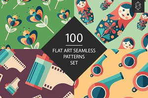 100 Flat art seamless patterns set