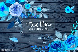 Blue Rose Clip Art Watercolor Rose