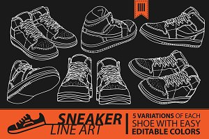 Sneaker Line Art_Shoes Illustrations