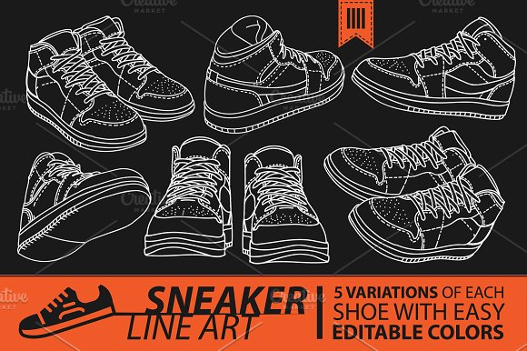 Sneaker Line Art Shoes Illustrations