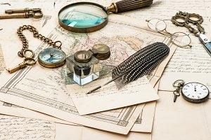 Antique Accessoires And Letters