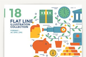 18 Flat Line Illustration