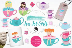 Tea Tot Girls illustration pack
