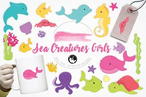Sea Creature Girls illustration pack