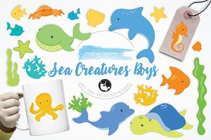 Sea Creatures Boys illustration pack