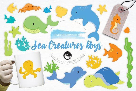 Sea Creatures Boys Illustration Pack