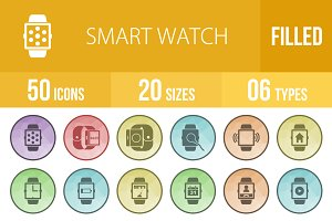 50 Smart Watch Low Poly B/G Icons