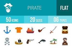 50 Pirate Flat Multicolor Icons
