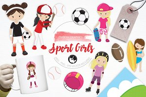 Sport Girls illustration pack