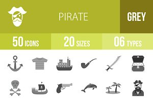 50 Pirate Greyscale Icons