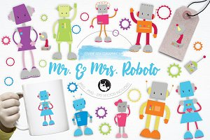 Mr. & Mrs. Roboto illustration pack