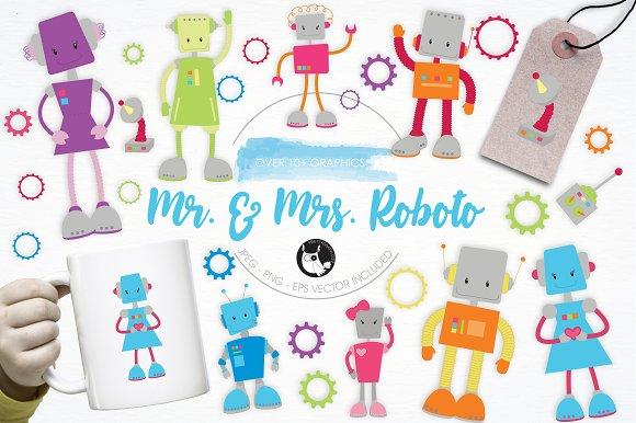 Mr Mrs Roboto Illustration Pack