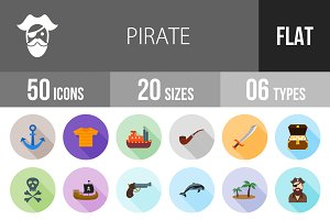 50 Pirate Flat Shadowed Icons