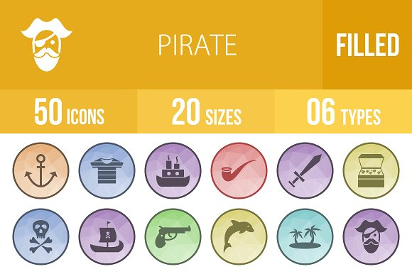 50 Pirate Filled Low Poly B G Icons