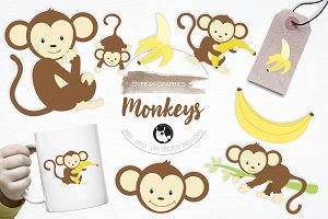 Monkeys illustration pack