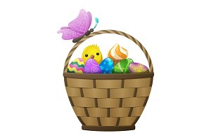 Basket with Easter Eggs, Chiken and Butterfly