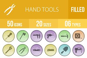 50 Hand Tools Low Poly B/G Icons