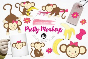 Pretty Monkeys illustration pack