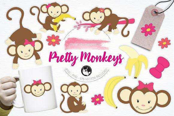 Pretty Monkeys Illustration Pack