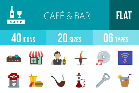 40 Cafe Bar Flat Multicolor Icons