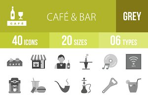40 Cafe & Bar Greyscale Icons