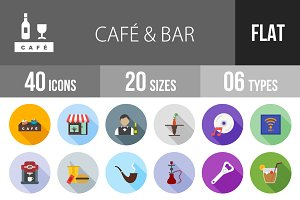 40 Cafe & Bar Flat Shadowed Icons