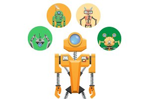 Yellow Robot with Retractable Round Eye Four Icons
