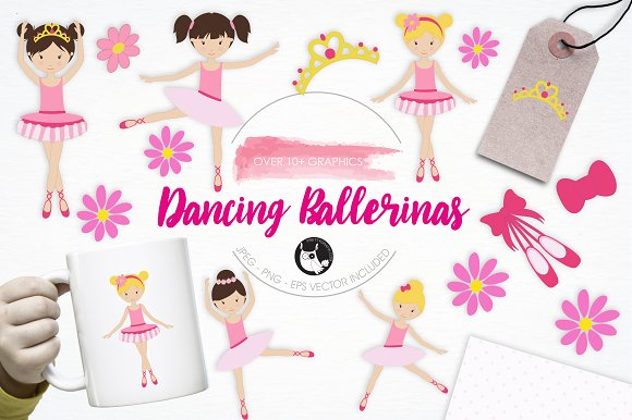 Dancing Ballerinas Illustration Pack